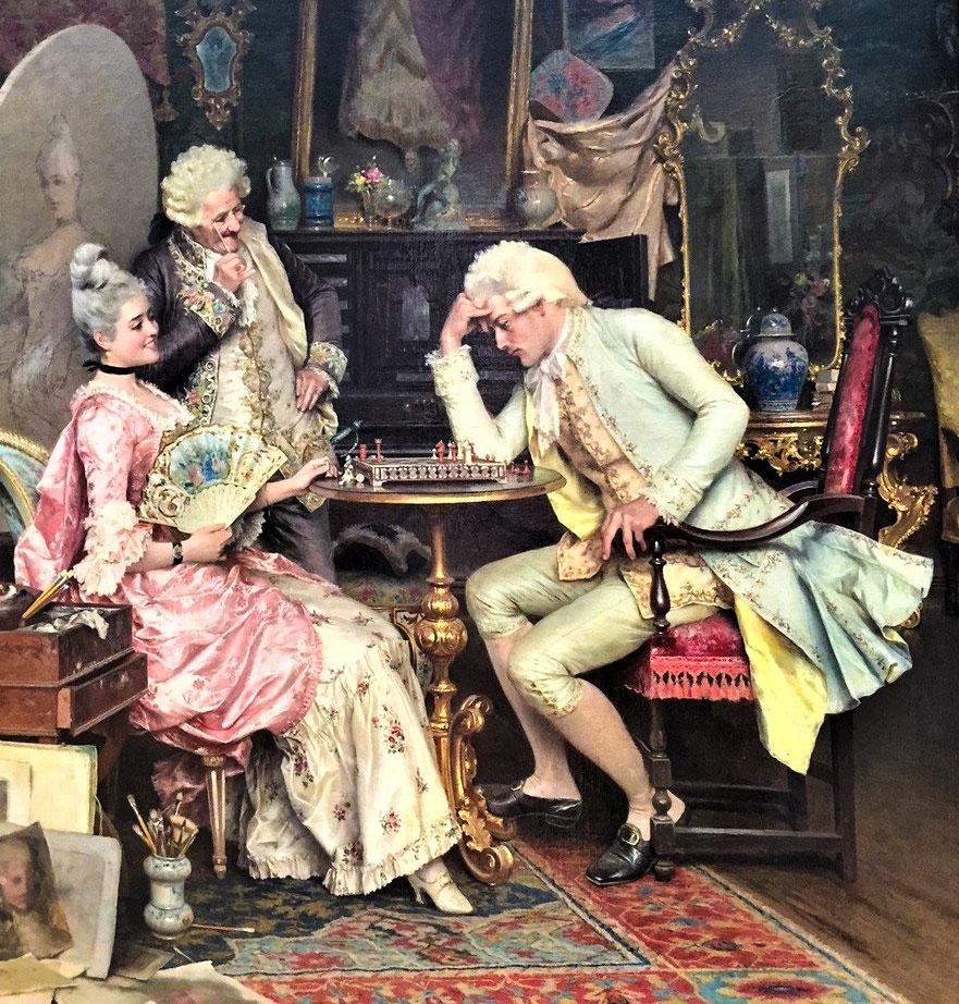 «За шахматной игрой» Артуро Риччи (Arturo Ricci, Флоренция, Италия, 1854 – 1919 гг., холст, масло).